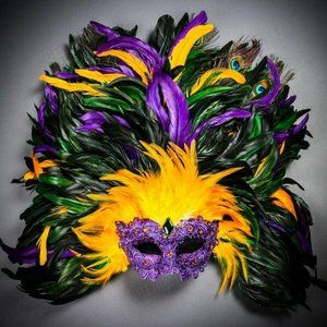 Masquerade for Venice Carnival Large Feather Mask